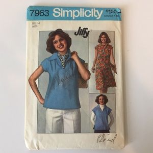 Vtg 70's Simplicity Sewing Pattern 7963 Top Skirt